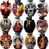 Anime EINEM STÜCK Kostüm Affe D Luffy Sweatshirts Cosplay Herbst Männer Europäischen und Amerikanischen 3D Druck Jacke Mit Kapuze pullover