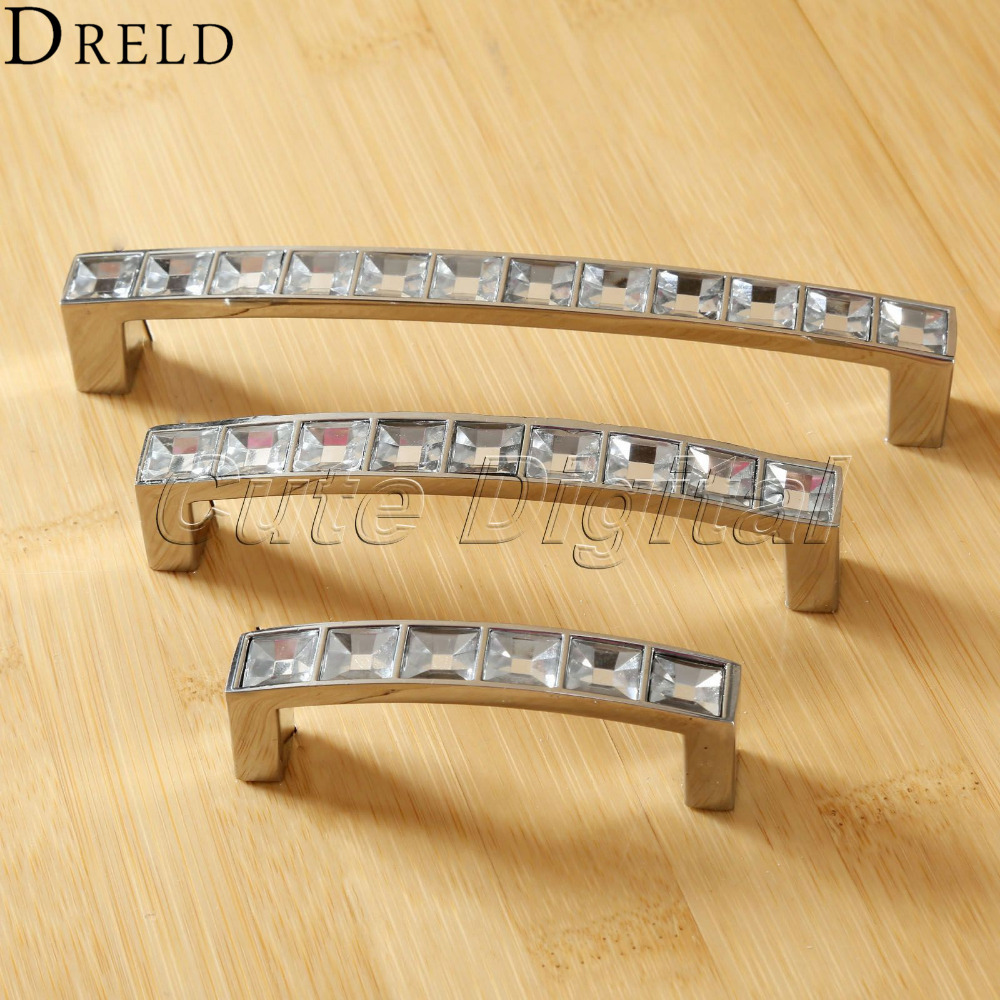 Diamond Crystal Furniture Handles Cabinet Knobs And Handles Wardrobe Cupboard  Kitchen Pull Handle Furniture Fittings 64/96/128mm