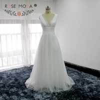Rose Moda Col En V Profond Souple Tulle Robe De Mariage De Plage Low V Retour Boho Robes De Mariée D'été Robe