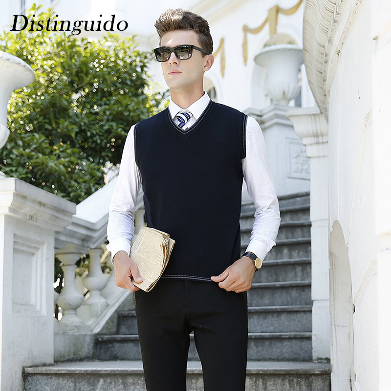 2018 Spring New Arrival V-Neck Collar Smart Casual Business Mens Sweater Sleeveless Solid Color Knitting Vest MSW079 ...