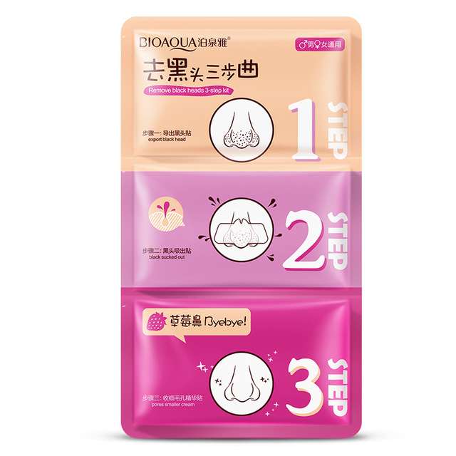 3 steps to blackhead remover korean cosmetics facial face black head mask acne charcoal sheet mask Peeling Peel Off nose mask