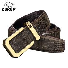 CUKUP Men New Design Quality Cow Genuine Leather Letter Smooth Buckles Mens Casual Styles Belt for Man Accessories 2019 LUCK812