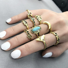 Retro-Bohemian Hollow-out Carving Hand Jewelry with Simple Geometry and Ethnic Wind Ring