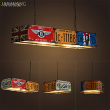Retro Dining Bar Loft Iron pendant lights Industrial modern license plate lamp Creative design for Coffee Shop Cafe hanging lamp недорго, оригинальная цена