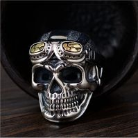 S925 sterling silver retro Thai silver craft open men's models fashion glasses skull shape Thai silver ring