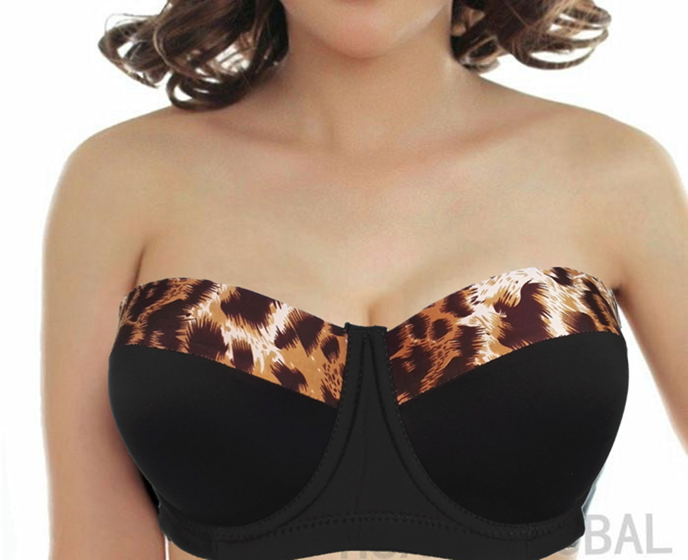 New Color High Quality 36-46 D 1/2 Cup Seamless Bra Print Plus Big Size Push Up Women Sexy Bra Seamless Silicon Strapless H059-2 Underwear & Sleepwears Bras