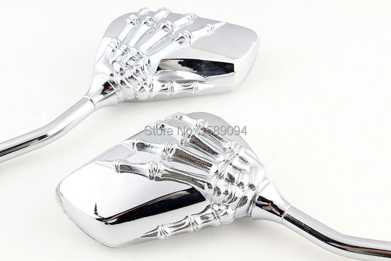 Classic chrome skull hand rearview mirrors for kawasaki for Mirror 750 x 900