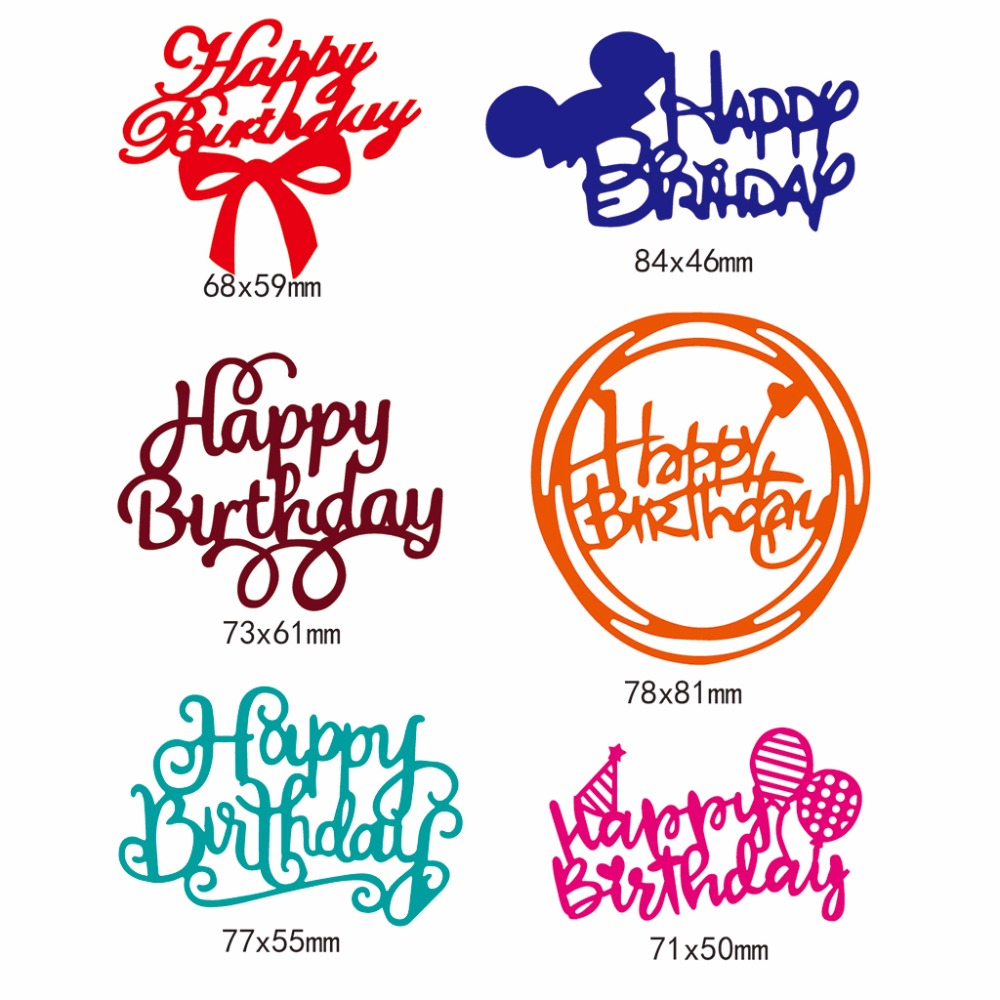 Happy Birthday Cutting Dies DIY Album Cards Embossing Stencils Craft Mold Decor