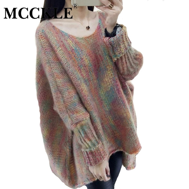 MCCKLE  Fashion Lady Knitwear Women batwing sleeve Casual Sweater Autumn Winter Knitted Plus Size loose Pullover Sweater