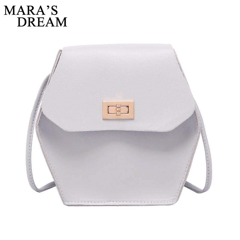 Mara's Dream 2019 New Texture Lock Buckle Bag Japan And South Korea Solid Color Hex Bag Simple Mobile Phone Bag Diagonal Bag