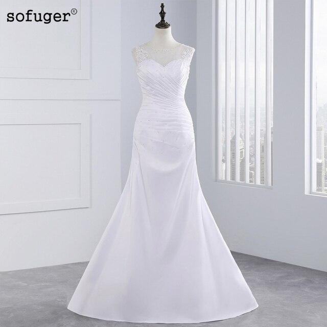 vestidos de novia románticos elegantes baratos de encaje de sirena