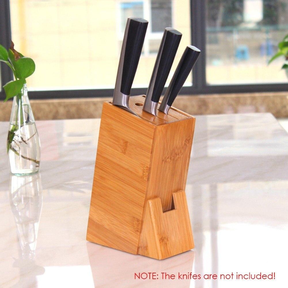 Kitchen Knife Holder Shelf Rack Storage Bamboo Knife Block Toolframe Cutting Tool Stand For Chef Knife Set
