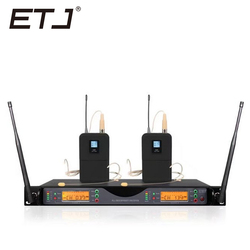 ETJ Brand UR24D UR4D With Dual Headset Wireless Microphone For Stage Performance Bodypack Belt pack Karaoke Microphone