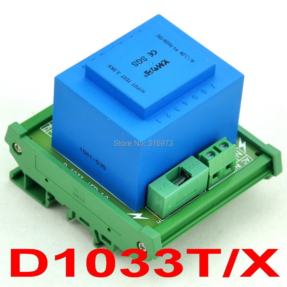 P 230VAC, S 2x 15VAC, 20VA DIN Rail Mount Power Transformer Module,D-1033T/X,15VP 230VAC, S 2x 15VAC, 20VA DIN Rail Mount Power Transformer Module,D-1033T/X,15V