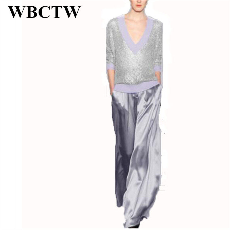 WBCTW Trousers Women 2018 Solid Sliver Fashion Full Length Loose   Pants     Wide     Leg     Pants   Casual Office   Pants   High Waisted Trousers