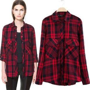 ZA 2014 NEW AUTUMN WINTER 100% Cotton Women's Casual Red Checked ...