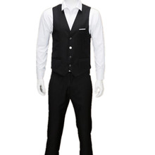 Latest men's vest fashion style wedding the groom's best man pure color classic men's suits formal occasions