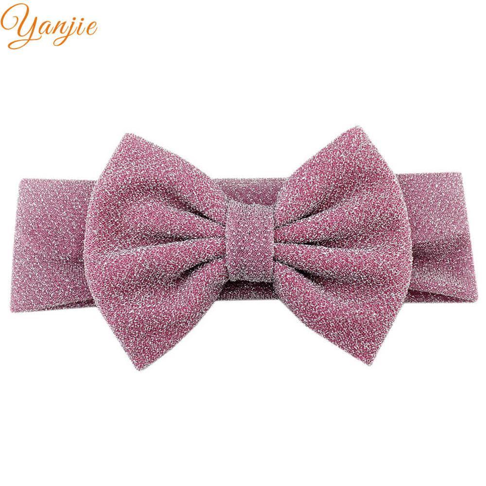 """Для девочек; плотная эластичная повязка на голову для детей с блестками бант повязка на волосы """"тюрбан"""" женские аксессуары для волос для детей эластичные резинки для волос Головные уборы - Цвет: pink"""