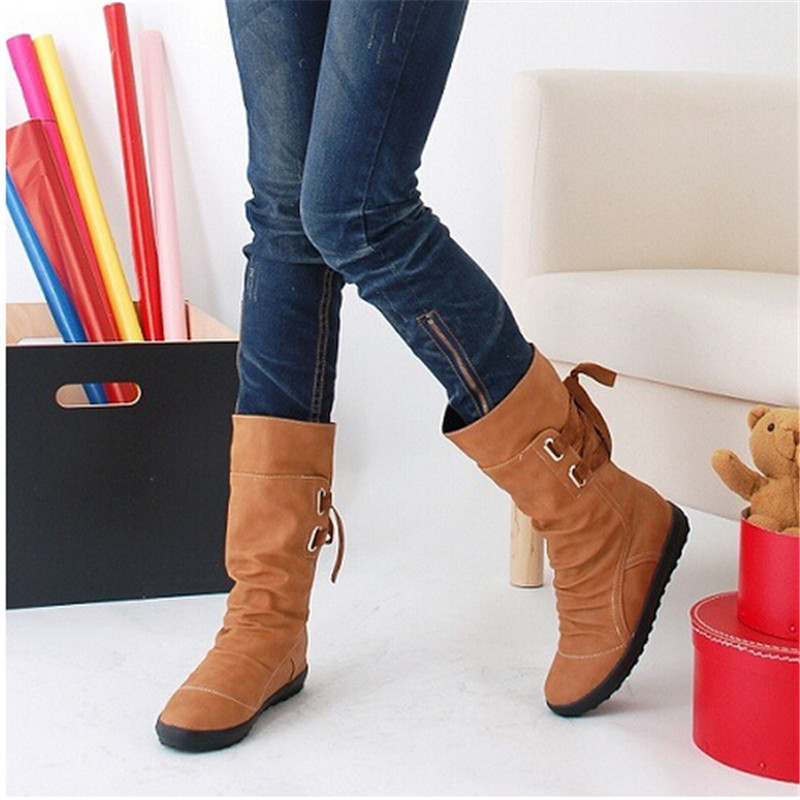 60eb21a1b116 Women Winter Snow Boots Mid Calf Solid Wedges Ladies Height Increasing  Shoes Casual Leather Boot Woman Warm Plush Botas Mujer-in Snow Boots from  Shoes on ...
