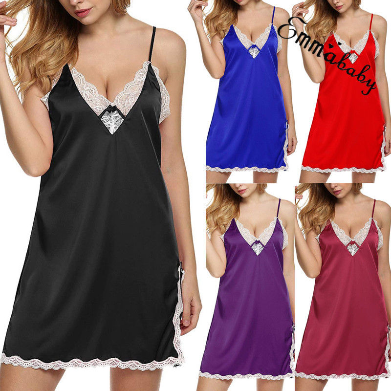 Sexy Lingerie Women Silk Lace Robe   Nightgowns   Sleepwear Lady Sexy Sleepdress Babydoll Nightdress   Nightgown     Sleepshirts   Homewear