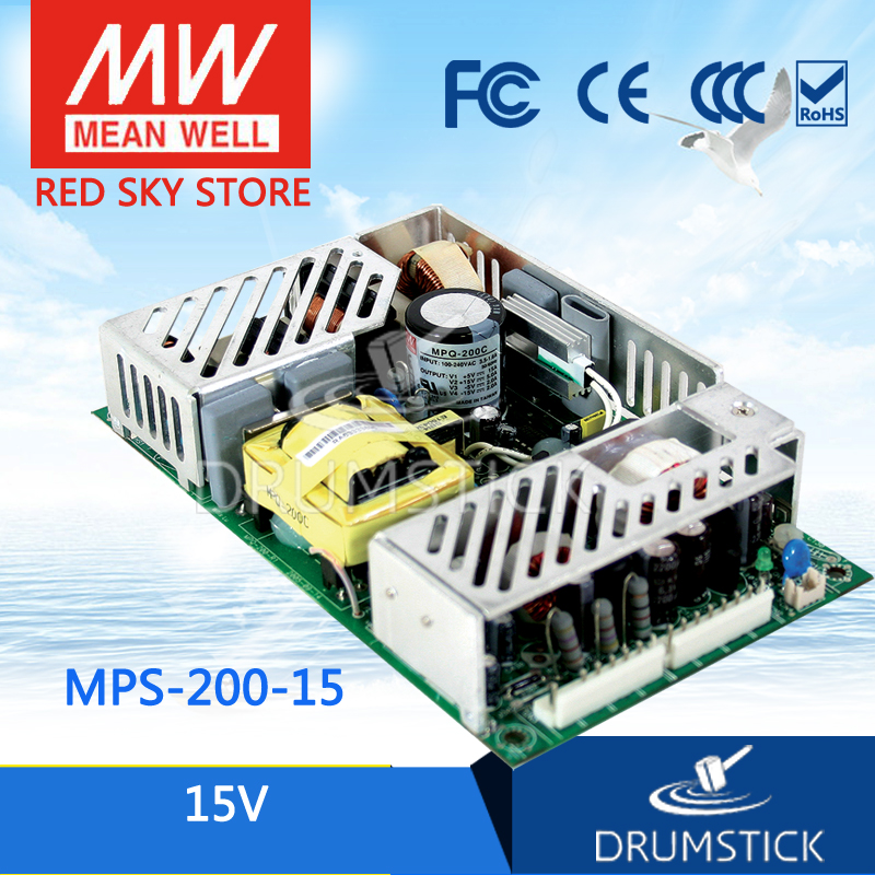 Hot sale MEAN WELL MPS-200-15 15V 13.4A meanwell MPS-200 15V 201W Single Output Medical Type хай хэт и контроллер для электронной ударной установки millenium mps 200 mono cymbal pad