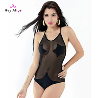 Top Sale Sexy Monokini One Piece Solid Perspective Backless Swimsuit Women Halter High Quality Pool Bathing