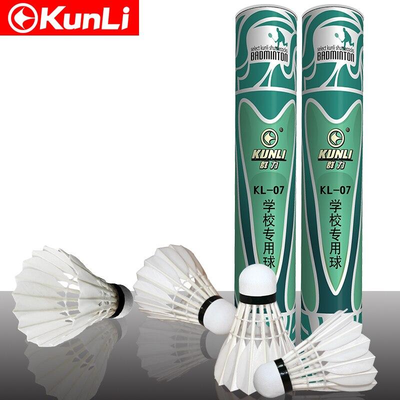 Kunli Badminton shuttlecocks KL-07 Straight duck feather shuttlecocks 5dozens/lot feather shuttlecock for training Free shipping