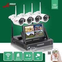 ANRAN P2P HDMI 7 LCD Monitor 4CH WIFI NVR Night Vision IP66 Waterproof CCTV Security 720P