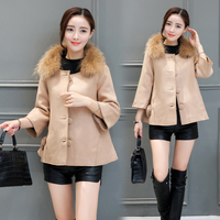 new winter cloak air fragrance woolen cloth coat women top overcoat with fur collar single breasted korean fashion lady outfit