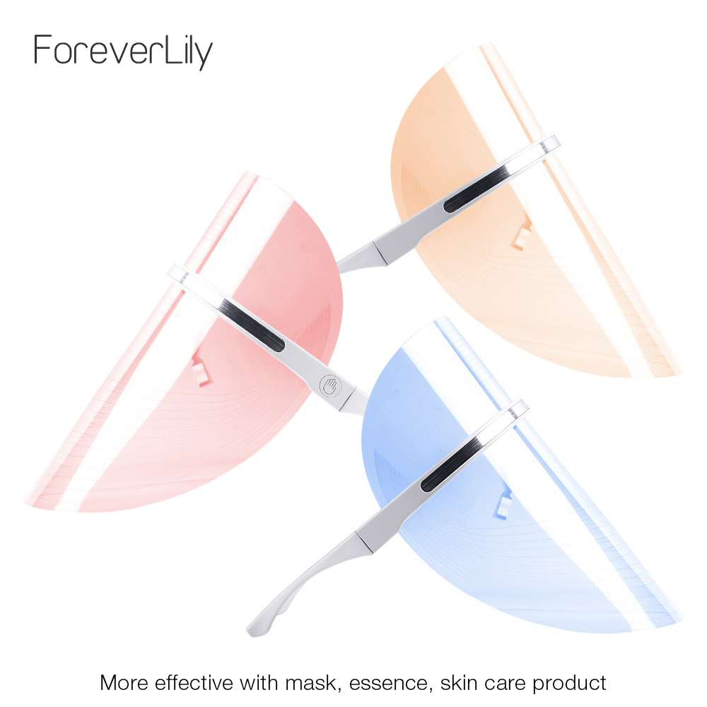 Foreverlily Portable USB Cable Photon 3 Colors Light Led Facial Mask Therapy Effective Face Treatment  Anti-wrinkle Beauty SPA