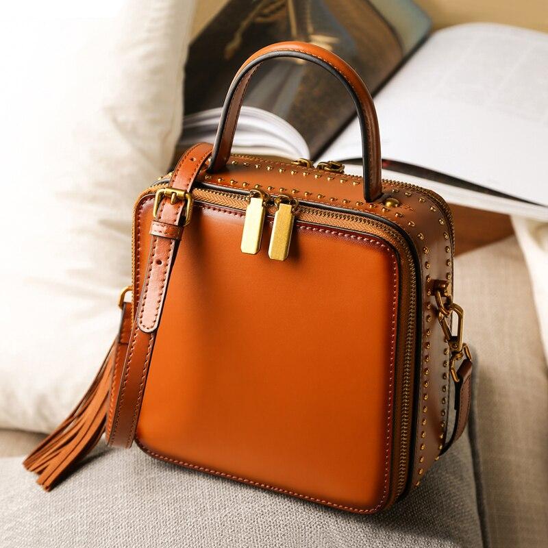 Handbag Genuine Leather Office Ladies Hand Bags 2018 Fashion Summer Female Shoulder Sling Bag Square Handbag Messenger Bag