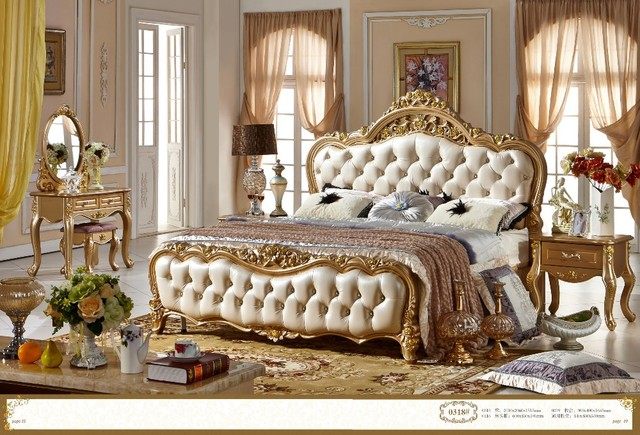 Exceptional French Style Double Bed Design Wood Material Soft Bed 0409 318