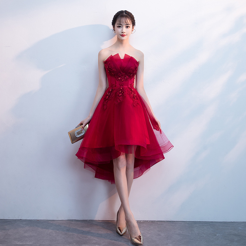 2019 New Spring   Evening     Dress   Short Front Long Back Strapless Prom   Dress   Applique Flower Sexy Backless Banquet   Dresses