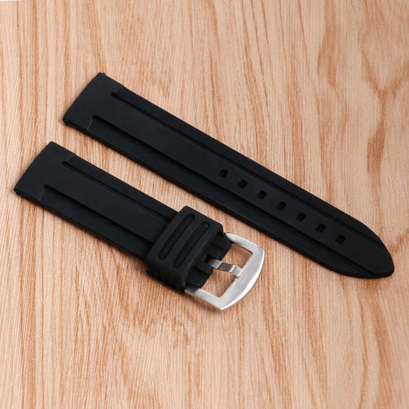 20/22/24/26/28mm Watch Strap Wrist Band Bracelet Black Silicone Waterproof Replacement Military Pin Buckle Sport Outdoor