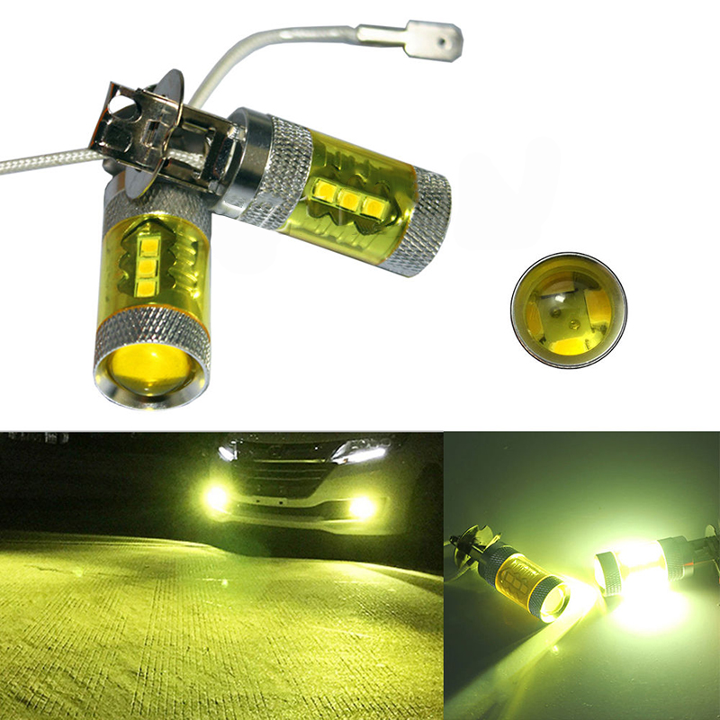 2pcs Set 12-24V H3 80W 16 SMD LED Car Fog Light Bulb Yellow High Power Truck