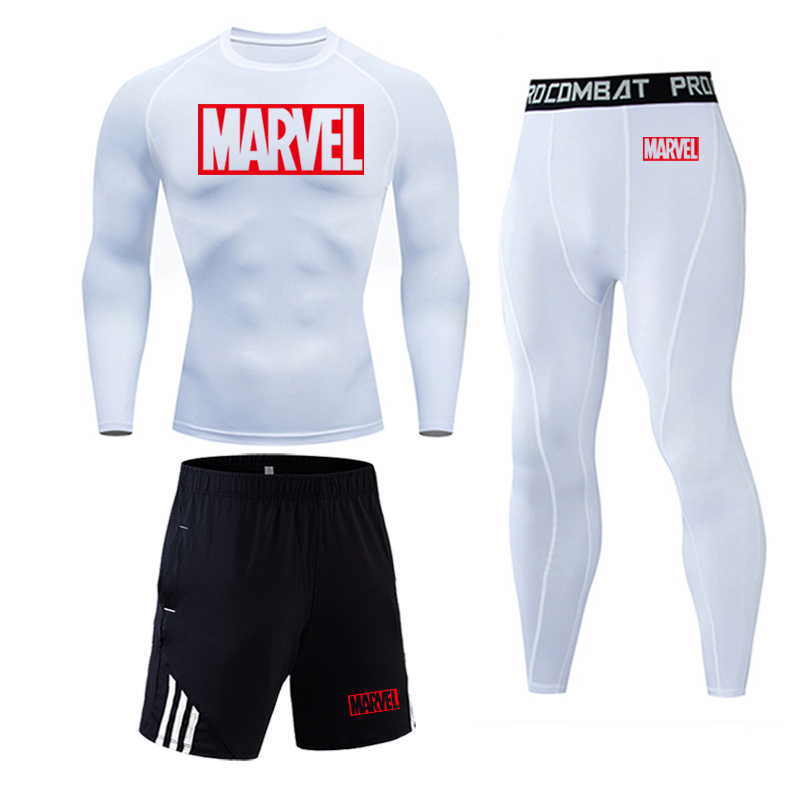 Mens Sports Running Set Compression Shirt + Pants Skin-Tight Long Sleeves Fitness Rashguard MMA Training Clothes Gym Yoga Suits