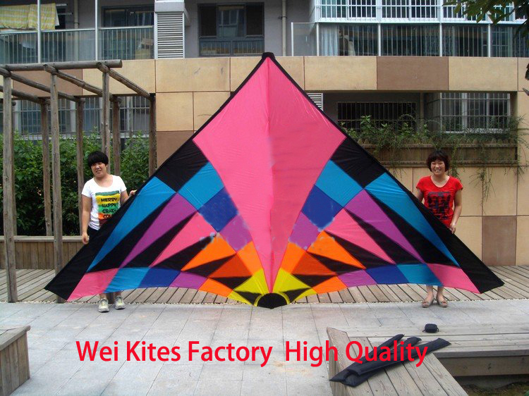 Купить с кэшбэком Free shipping high quality new design large 6sq colorful delta kites hot  so exciting with handle line ripstop nylon parafoil