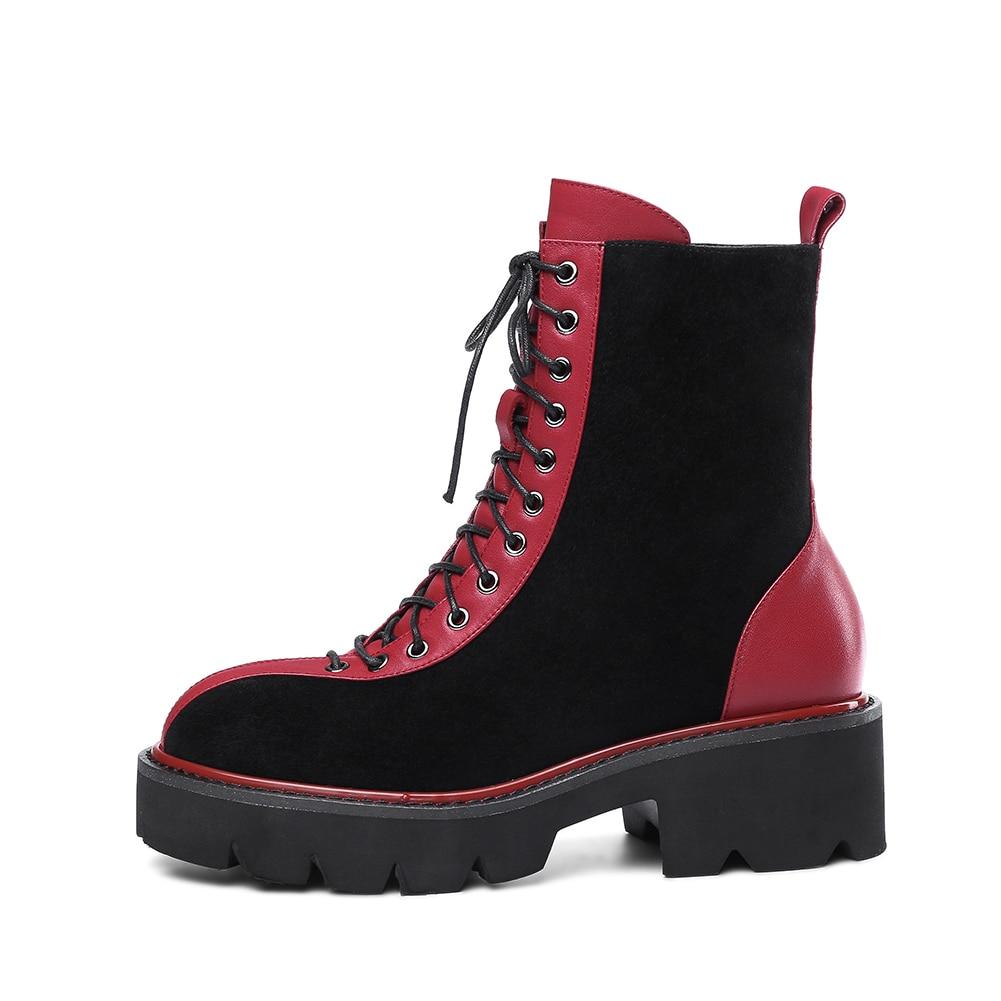 blanco Tacón Ocio Sarairis Martin Mayor Botas Mujer Venta Negro Ante Llegada Nueva Zapatos Al La Boot Por Cuero Grueso Estilo De Vaca Moda Calle ggqFCw