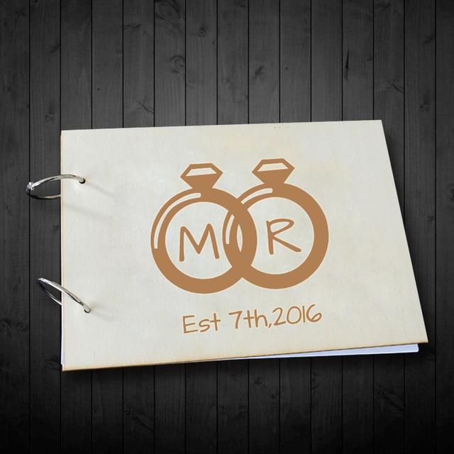 romantische jahrestag geschenke ring design custom initialen und datum hochzeit gastebuch rustikalen holz unterschrift buch fur
