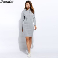Women Solid Pencil Pullover Slim Hooded Long Sleeve Cotton Blend Hoodie Spring Autumn Dress Red Gray
