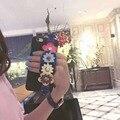 Новый Роскошный Ремешок цветы Телефон Case Для iPhone 7 7 plus 6 6 s 6 плюс 6 splus PU Кожа заклепки шипованных цветок СЦЕПЛЕНИЕ случаях назад крышка