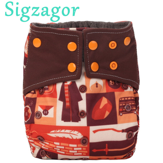 Sigzagor All In One Charcoal Bamboo Baby Cloth Diaper Nappy Washable