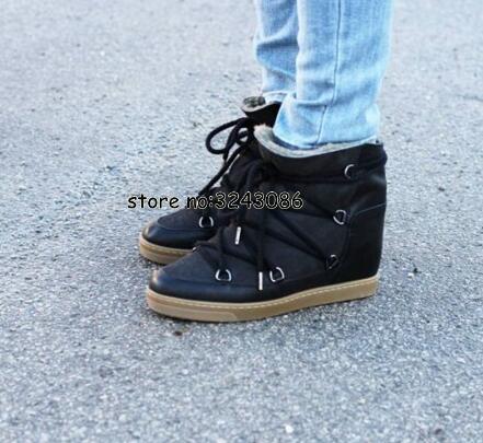 Hiver chaud fourrure peau de mouton doublé cuir bottes compensées cheville neige bottes deux lacets talon 8cm femmes chaussures chaussures décontractées livraison directe - 6