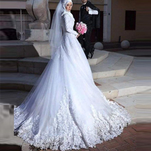 White Plus Size Hijab Wedding Dresses 2017 High-Neck New Arrival Shiny Beading Muslim Wedding Gowns Long Sleeve Sweep Train