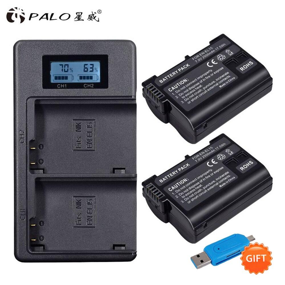 PALO 2 pièces EN-EL15 ENEL15 EN EL15 Batterie + LCD Double Chargeur USB Pour REFLEX NUMÉRIQUE Nikon D600 D610 D800 D800E D810 D7000 D7100 D7200 V1