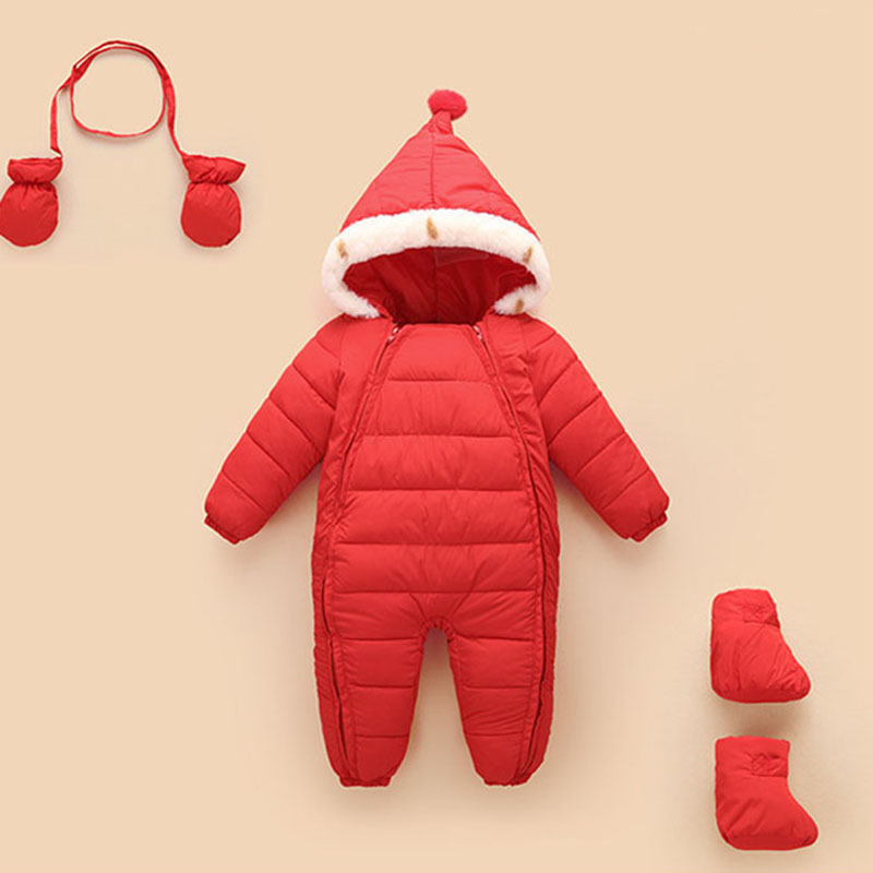 2018 Winter Newborn Baby Cotton Padded Warm Jacket Coat Children Siamese Clothes Infant Girls Boys Bodysuits Gift Gloves Socks 2017 winter children cotton padded parkas clothes baby girls
