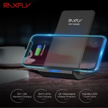 RAXFLY 10W Qi Fast Wireless Charger For iPhone X 8 XR XS Quick Samsung Galaxy Note 9 S9 S8 Plus S7 S10