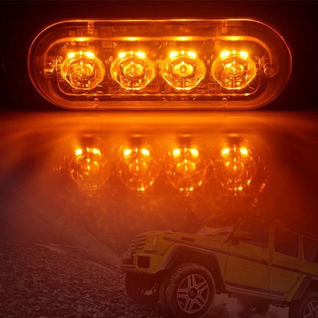 4LED samochodowy sygnalizator optyczny Grill migający awaria światło awaryjne przyczepa do samochodu ciężarowego lampa ostrzegawcza światła boczne LED do samochodów