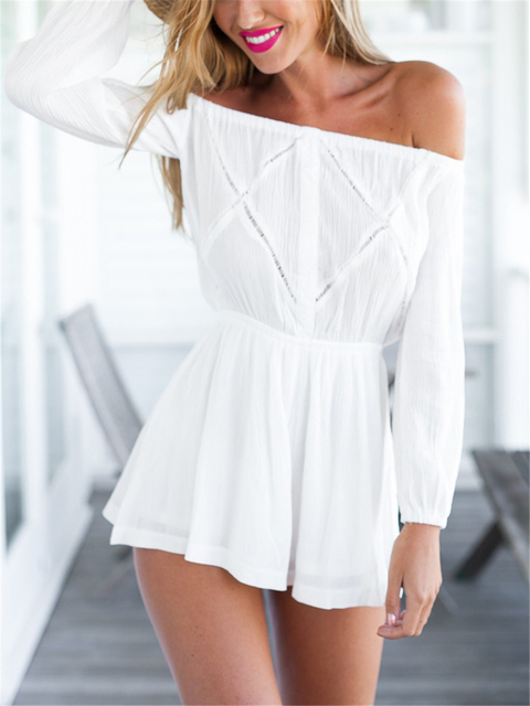 b2bf925d4193 Women Fashion Sexy Summer Style White Off Shoulder Rompers Womens Jumpsuit  Loose Shorts Long Sleeve Romper Playsuit