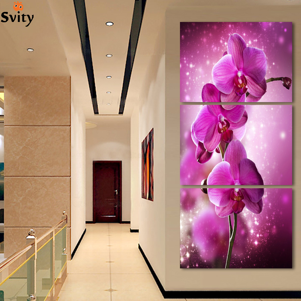 Wall paint purple - 3 Piece Modern Wall Painting Purple Orchid Home Wedding Decoration Flowers Art Picture Paint On Canvas Prints No Framed